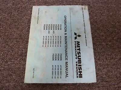 Mitsubishi Fd30k Fd35k Forklift Lift Truck Owner Operator Maintenance Manual