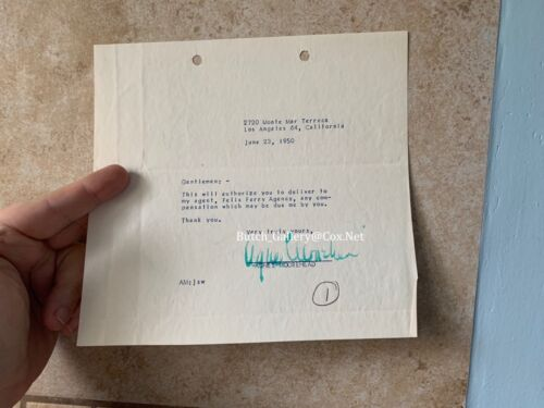 AGNES MOOREHEAD signed autograph letter contract
