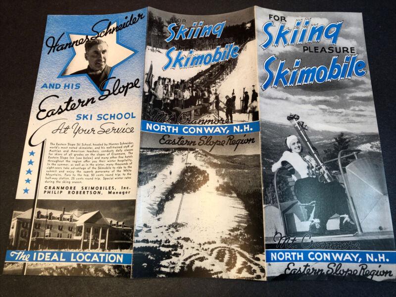 c 1940 HANNES SCHNEIDER SKI SCHOOL Mt Cranmore N. Conway NH Brochure VINTAGE