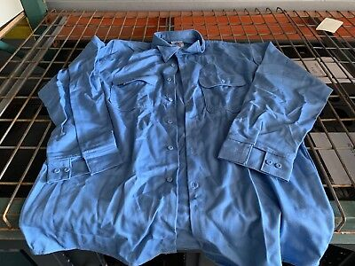 Westex Flame Resistant Button Up Long Sleeve Shirt For Welding Large Blue Soft