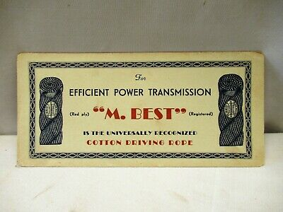 Vintage M.Best Cotton Driving Rope Advertising Sample Card Blotter Paper Sign ""
