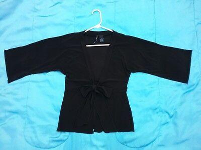 Black Knit Shirt Cardigan Kimono V-Neck Long 3/4 Sleeves SAIN TROPEZ WEST Size S Kimono Sleeve Knit Shirt