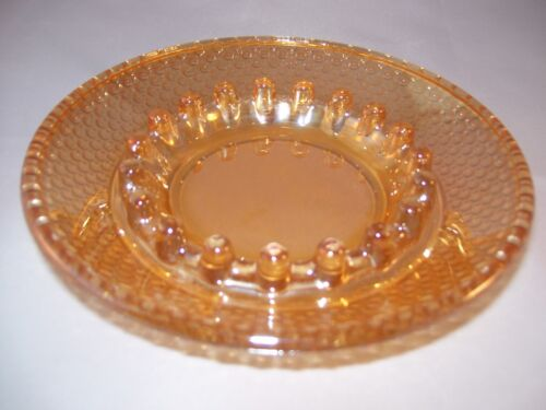 Vintage Marigold Carnival Depression Glass Hobnail Ashtray Iridescent Nice!