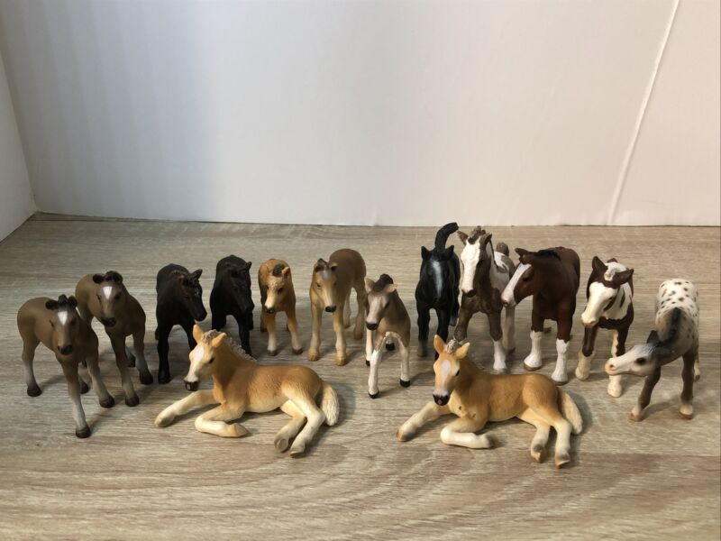 Schleich Lot of 14 Horse Foals Retired Used