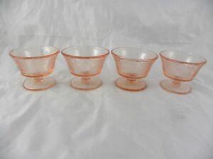 4 Nice Vintage Pink Depression Glass Floral Footed Sherbet Dessert Cups Bowls