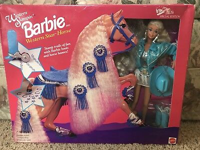 BEAUTIFUL WESTERN STAMPIN BARBIE WITH WESTERN STAR HORSE! NEW IN BOX!
