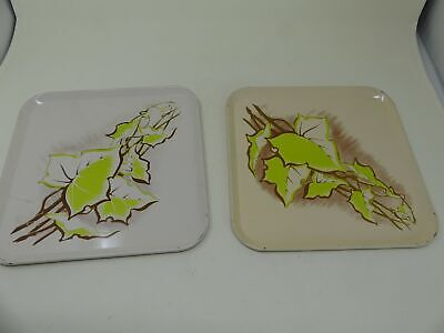 Set of Two Vintage Tin Serving Tray's with Lime Green Vines Leaves Square Lime Tray Set