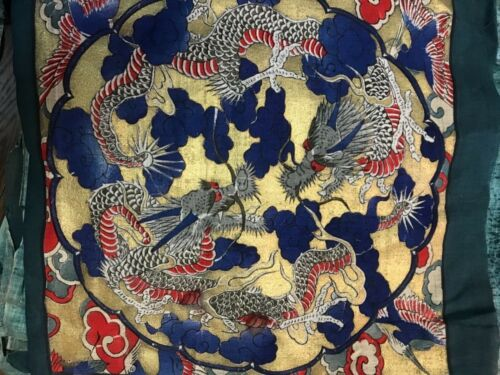 Stunning NOS cushion covers with Dragon design 19th  century JJ52