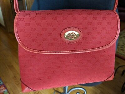 Authentic Vintage Gucci Red leather/canvas Micro GG Crossbody Bag/EUC