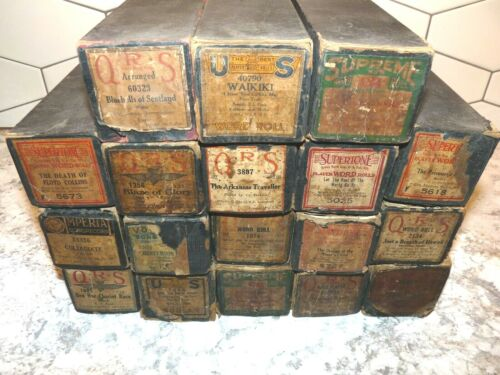 Eighteen (18) Vintage Player Piano Rolls All in Boxes Lids Barney Google Waikiki
