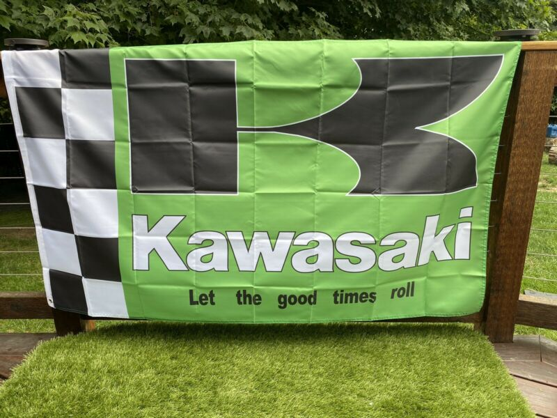 1970s Let The Good Times Roll KAWASAKI MOTORCYCLE FLAG 3 X 5 Ft  USA seller