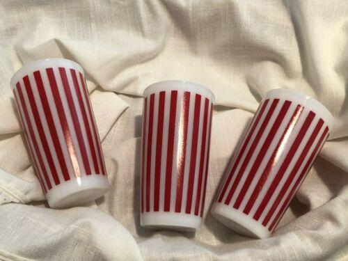 Set of 3 Vintage Hazel Atlas Candy Stripe milk glass drinking tumblers