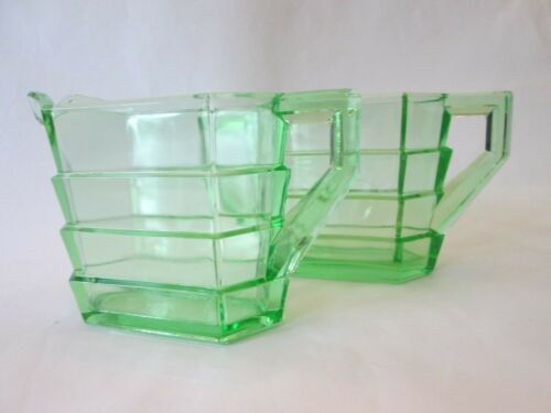 RECTANGULAR SUGAR CREAMER SET! Vintage INDIANA GLASS depression GREEN TEA ROOM