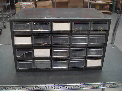 Akro-mills Used 20 Drawer Parts Cabinet With Misc. Parts Connectors Etc....