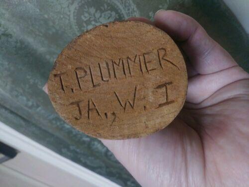 Folk Art Primitive Wood Carving Man Head Signed T. Plummer Midcentury Sculpture - $48.00