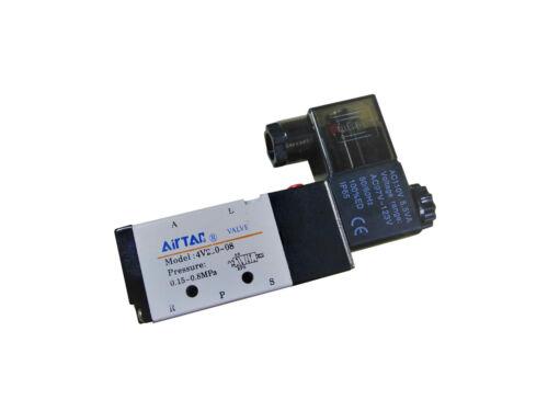 "4V210-08 5 Way 2 Position Solenoid Pneumatic Air Valve 1/4"" BSPT 110V Double"
