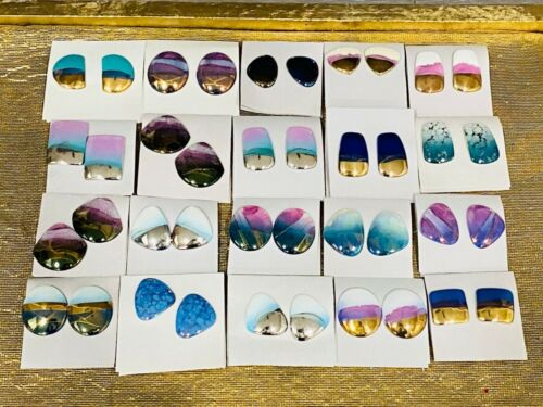 Vintage Hand-Painted Porcelain Earrings Lot of 20 - Psychedelic Abstract 22KT