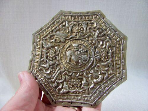 Antique Peranakan / Nyonya Baba Gilt Silver Bolster / PIllow Plate from Malaysia