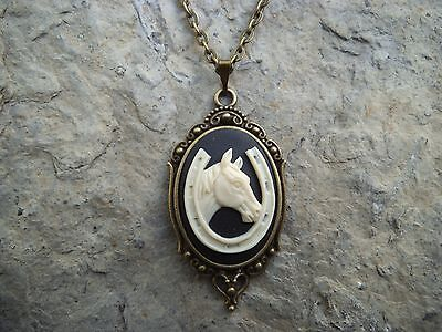 HORSE and HORSESHOE CAMEO PENDANT NECKLACES- SET IN BRONZE- CHRISTMAS!! LUCKY!!