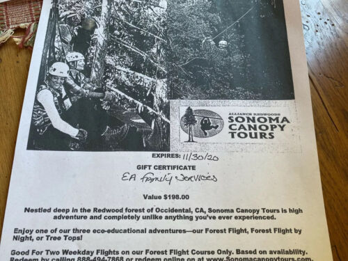 TWO SONOMA CANOPY TOURS Gift Certificate. 198 Value - $120.00