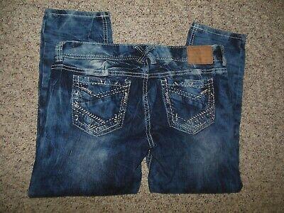 Amethyst Womans 11 Blue Stretch Denim Whiskered Acid Wash Capris Crop Pants