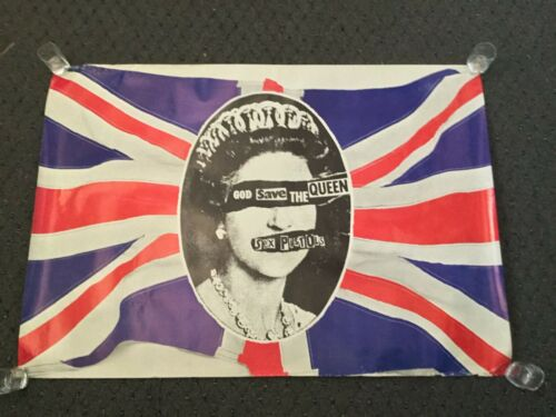 VINTAGE ORIGINAL 1977 SEX PISTOLS GOD SAVE THE QUEEN PROMO POSTER JAMIE REID