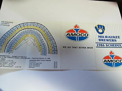 1986 Milwaukee Brewers Mlb Schedule With Amoco Advertising