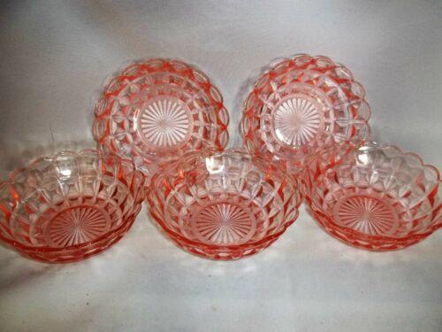 Set/ 5 Vintage Pink Depression Glass Scalloped Edge Berry Bowls, Cube Pattern