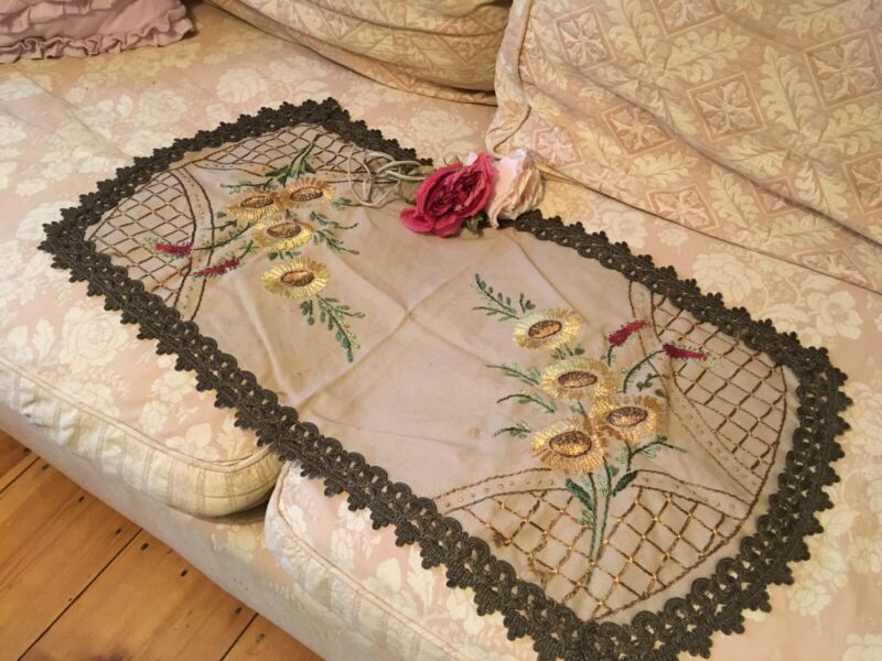 Antique Victorian Table Runner Embroidered Needlework Sunflowers Metalwork #D