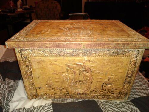 Embossed Copper Coal Kindling Box Chest C 1870?