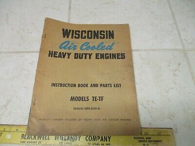 Vtg Wisconsin Air Cooled Heavy Duty Engines Instruction Repair Manual Te-tf Mm-2