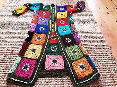 Crochet Floral Cardigan (LUNiQUE handmade crochet floral cardigan with pockets multi 10- 14)