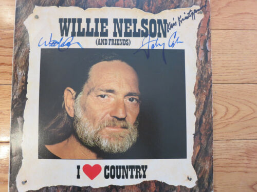 Willie Nelson Kris Kristofferson & Johnny Cash signed lp coa + Proof! Highwaymen
