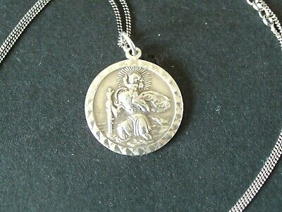 GEORG JENSEN STERLING SILVER ST CHRISTOPHER PENDANT AND CHAIN