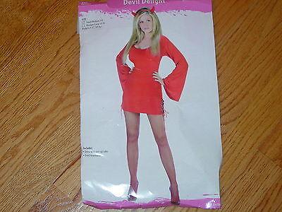 Ladies Halloween Devil Costumes (SEXY LADIES S 2-8 DEVIL COSTUME DRESS RED HORN HEADBAND ADULT WOMENS HALLOWEEN)