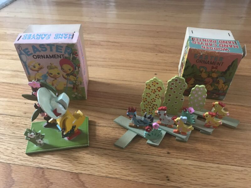 Vintage Easter Ornmanets Wooden, Hand Carved & Painted; Expansion