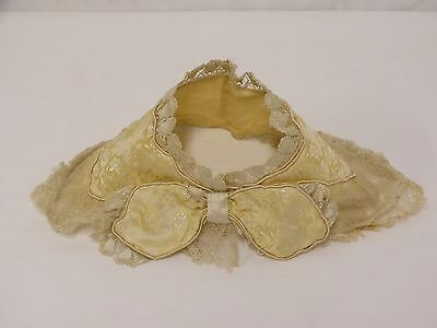 Antique VICTORIAN Silk Brocade Net Lace Trim Collar with Bow for Dress Bodice