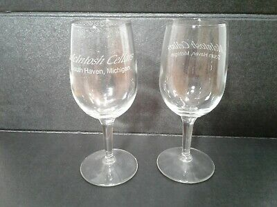 Havens Wine Cellars - McIntosh Cellars South Haven Mi Wine Tasting Glasses Set of 2 Etched Logo 7 oz