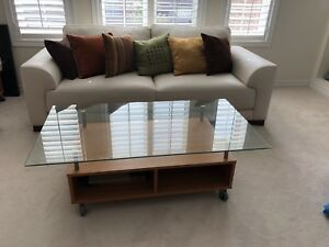 IKEA glass coffee table with side table