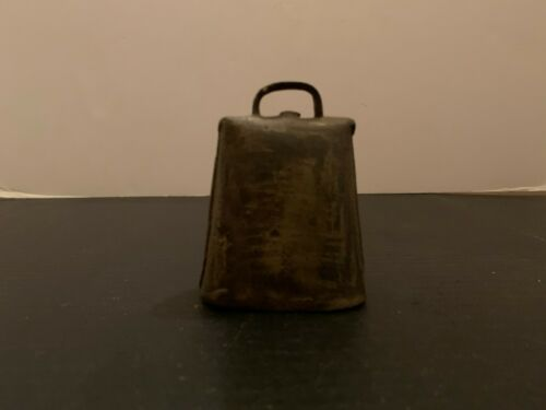 Antique Primitive Folded Riveted Metal Cow Bell 3.5 Inches