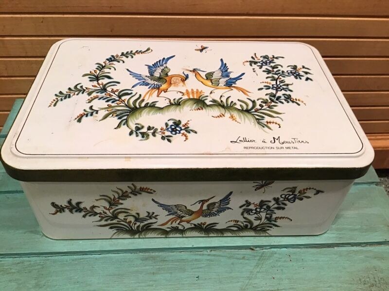 Vintage Massilly France Hinged Tin Box, Lallier A Moustiers
