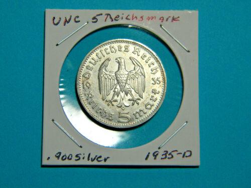 UNC WW2 Germany 🇩🇪  5 Mark Silver Coin Third Reich Reichsmark Hindenburg 1935D