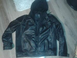 leather jacket (built in fabric hoodie)