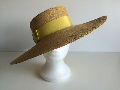 Womens Vintage Hat Made in Italy 100% Straw Wedding Occasion with Grosgrain Bow