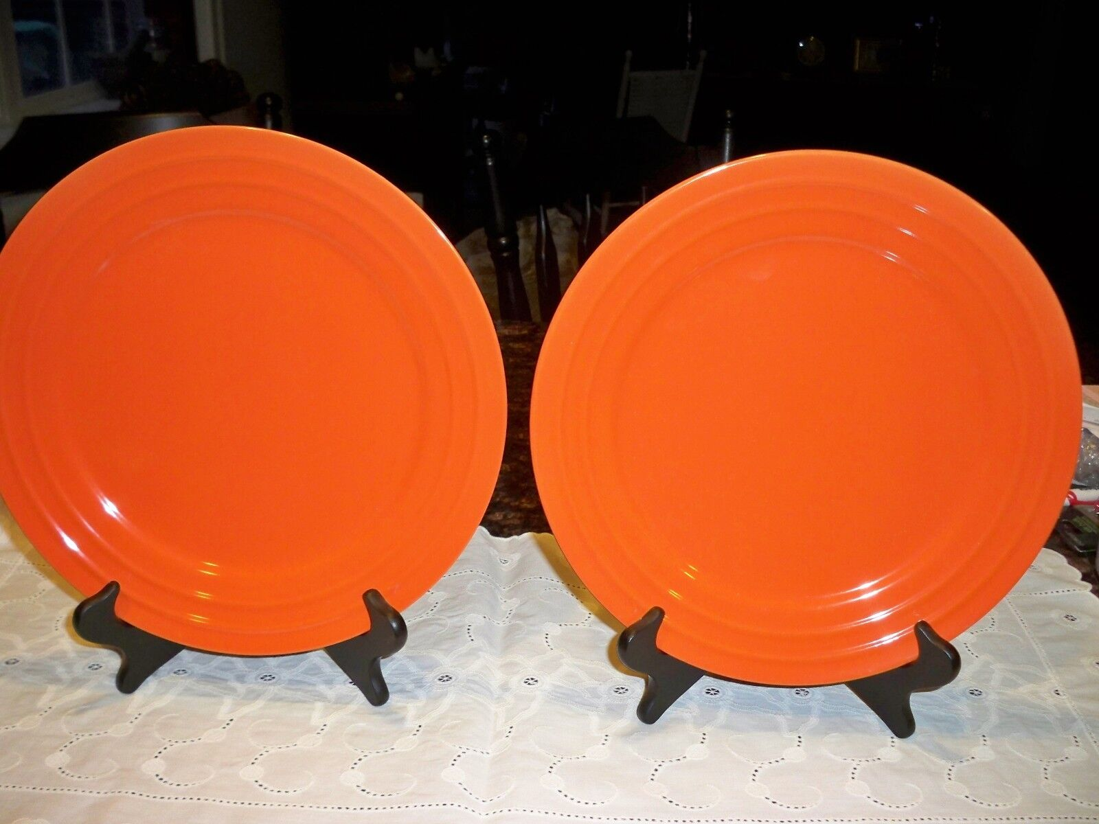 "2 Rachael Ray 11"" Dinner Plates Orange Double Ridge New"