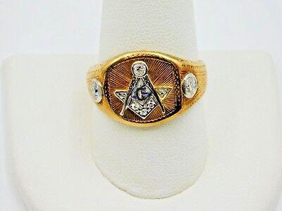 14K YELLOW GOLD VINTAGE MEN'S MASONIC RING W 3 DIAMONDS, SIZE 11