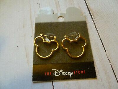 Disney Store Pierced Earrings. Mickey Mouse Gold Tone. HOOPS Disney Hoop Earring