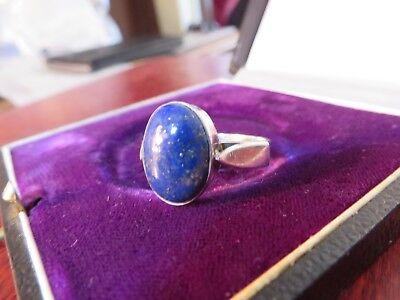 Schmaler 925 Silber Ring Lapislazuli Ultramarin Weiblich Zeitlos Elegant Retro Weibliche Marine