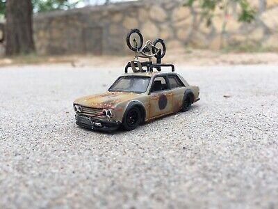 CUSTOM MADE Hot Wheels Datsun 510 & Bicycle Japan Historics Rust Rusty Patina