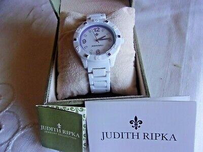 Judith Ripka White Athena Round Watch W/ Purple Diamonique Accents IOB